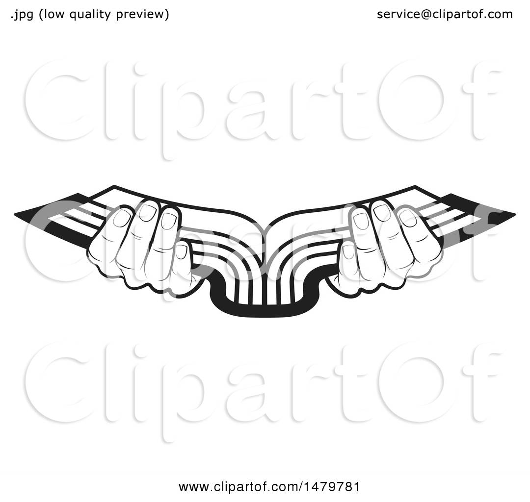hight resolution of clipart of a pair of black and white hands holding an open book royalty free