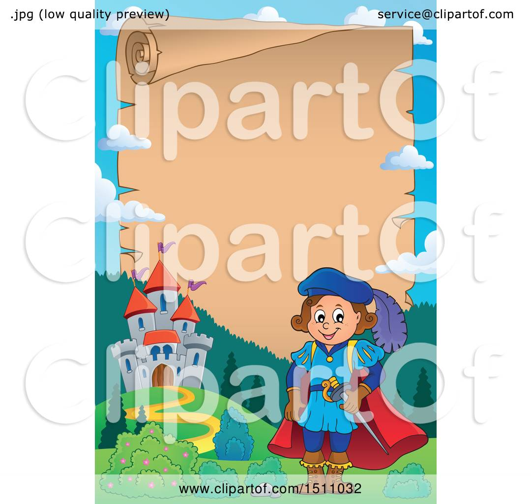 hight resolution of clipart of a parchment scroll border of a fairy tale prince near a castle royalty