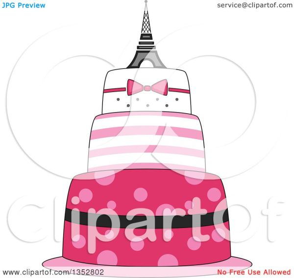 Clipart Of Pink Parisian Cake With Eiffel Tower