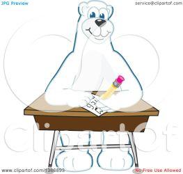 bear polar desk writing character mascot clipart illustration vector royalty toons4biz