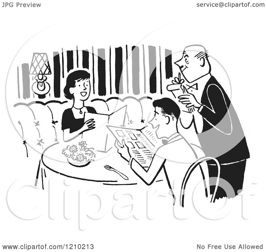 Clipart Of A Polite Happy Couple And Waiter Taking Their