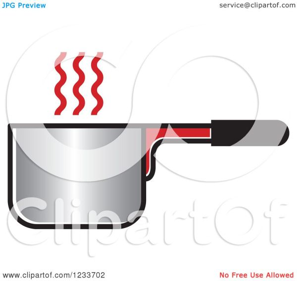 Clipart Of Pot With Red Steam - Royalty Free Vector
