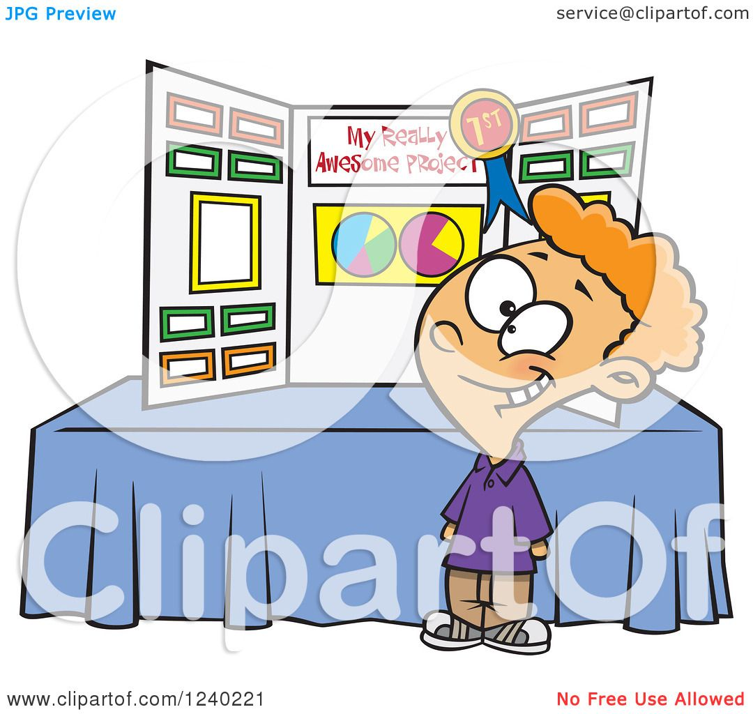 hight resolution of clipart of a proud caucasian boy winning first place at a science fair royalty free vector illustration by toonaday