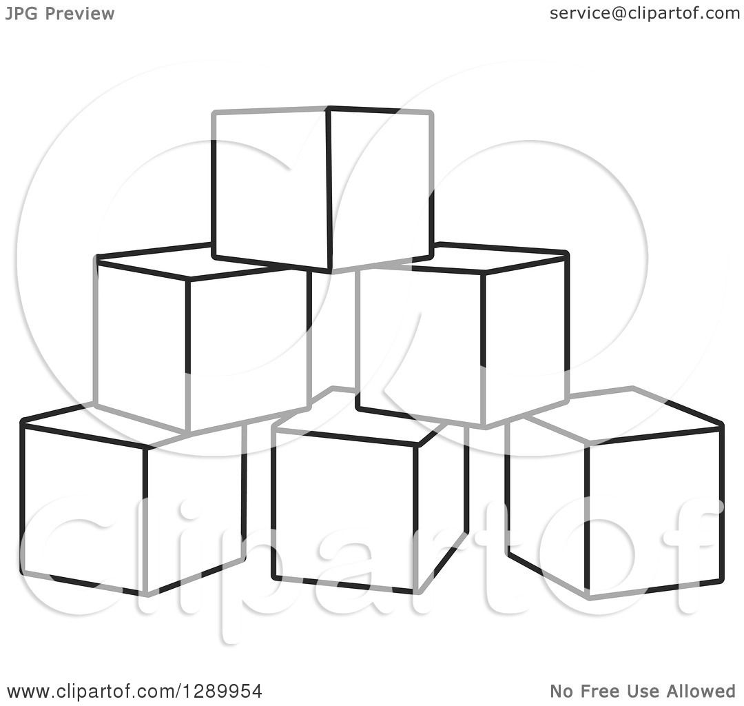 Clipart Of A Pyramid Of Black And White Toy Blocks
