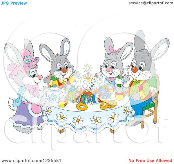 Clipart Of Rabbit Family Easter Eggs And Cake