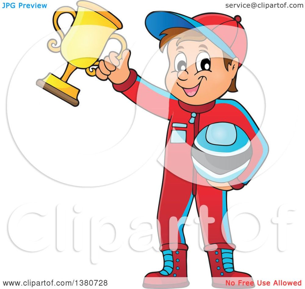 medium resolution of clipart of a race car driver holding his helmet and first place trophy royalty free vector illustration by visekart