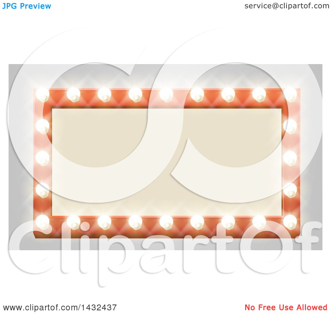 hight resolution of clipart of a rectangular retro marquee theater sign with light bulbs on gray royalty free