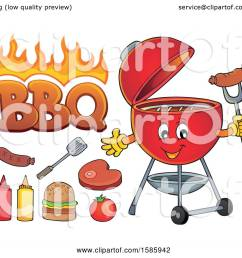 clipart of a red bbq grill character and food royalty free vector illustration by visekart [ 1080 x 1024 Pixel ]