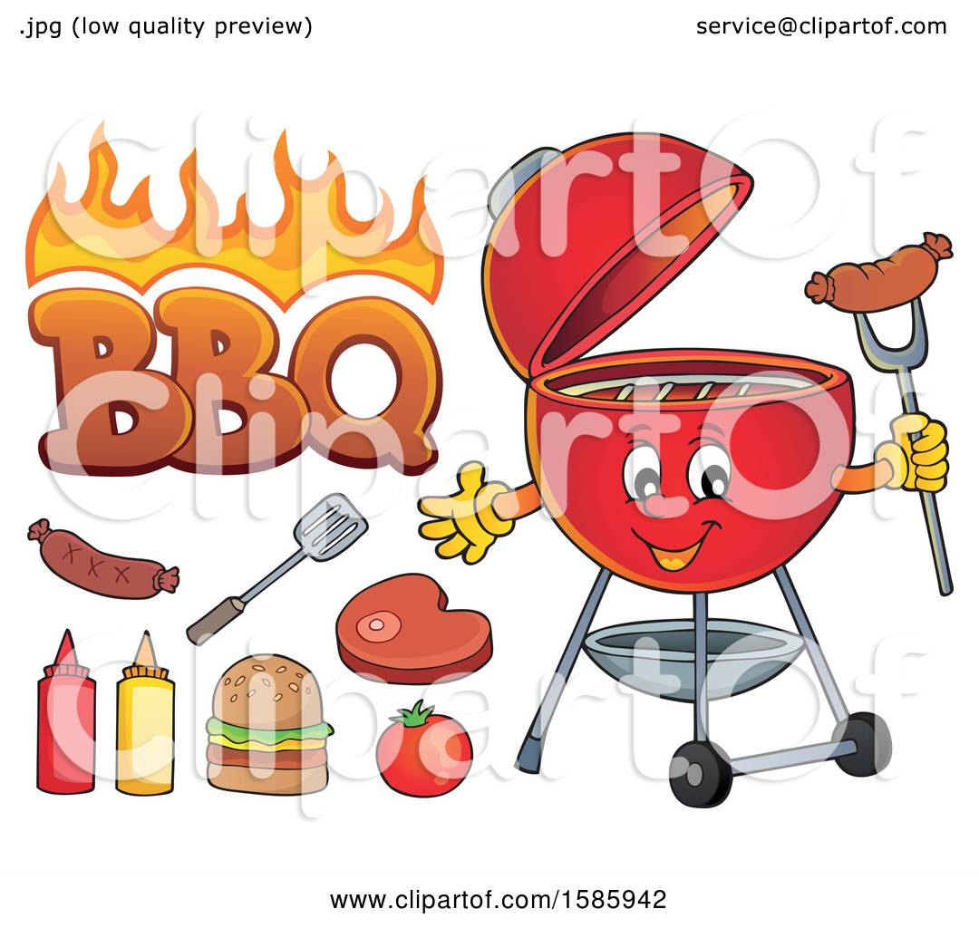 hight resolution of clipart of a red bbq grill character and food royalty free vector illustration by visekart