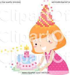 clipart of a red haired girl with a pixelated party hat and birthday cake royalty [ 1080 x 1024 Pixel ]