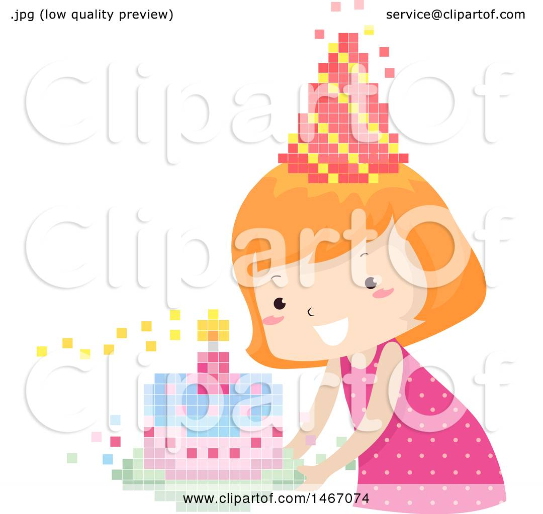 hight resolution of clipart of a red haired girl with a pixelated party hat and birthday cake royalty