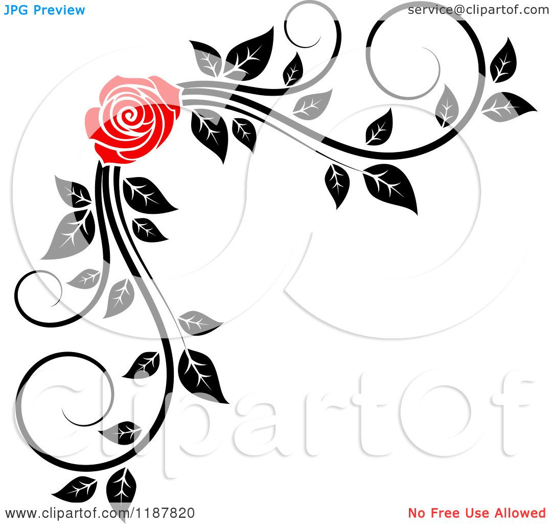 Clipart Of A Red Rose And Black And White Foliage Corner