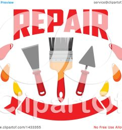clipart of a repair design with a paintbrush and plaster spatulas over a banner royalty free vector illustration by vector tradition sm [ 1080 x 1024 Pixel ]
