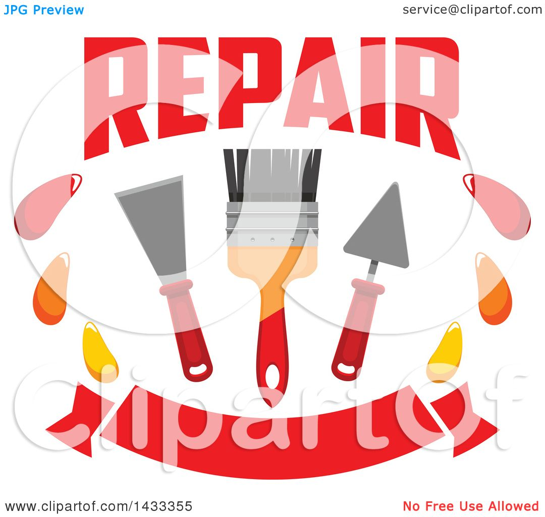 hight resolution of clipart of a repair design with a paintbrush and plaster spatulas over a banner royalty free vector illustration by vector tradition sm