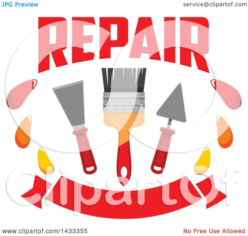 small resolution of clipart of a repair design with a paintbrush and plaster spatulas over a banner royalty free vector illustration by vector tradition sm