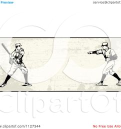 clipart of a retro baseball batter and pitcher banner over tan with copyspace royalty free vector illustration by bestvector [ 1080 x 1024 Pixel ]