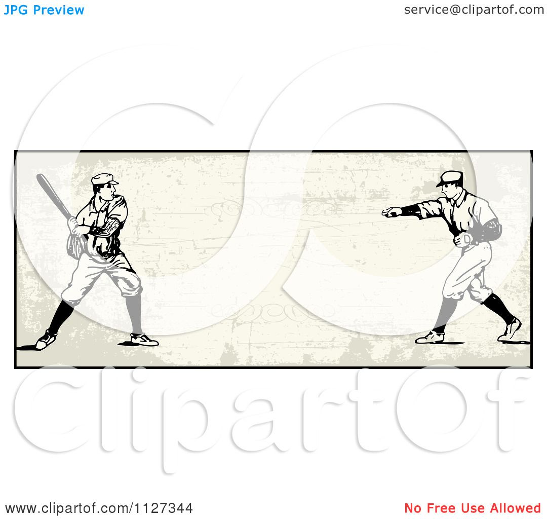 hight resolution of clipart of a retro baseball batter and pitcher banner over tan with copyspace royalty free vector illustration by bestvector