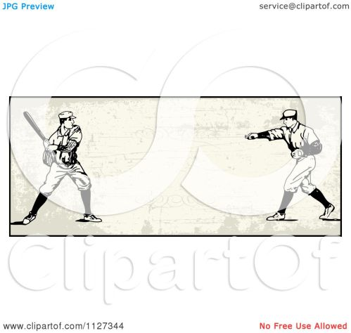 small resolution of clipart of a retro baseball batter and pitcher banner over tan with copyspace royalty free vector illustration by bestvector