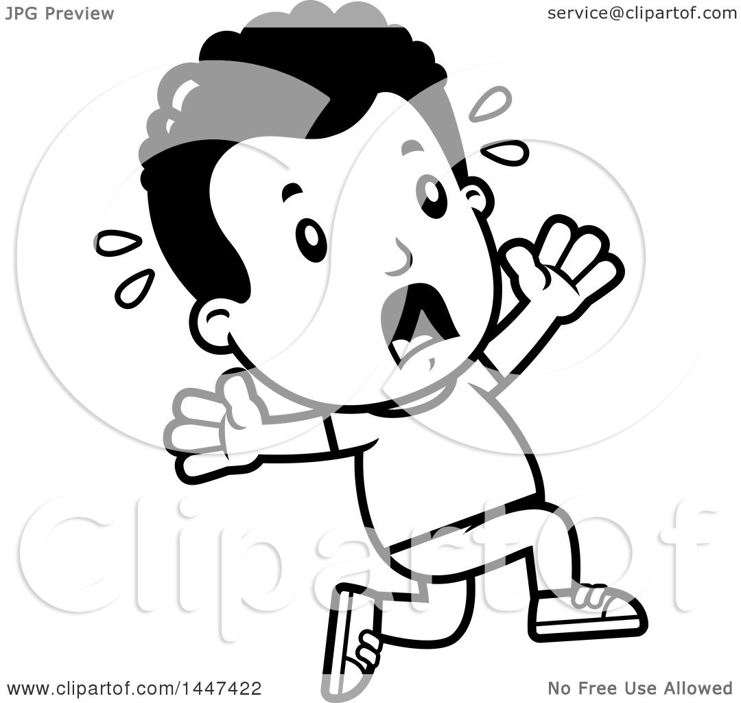 Clipart Of A Retro Black And White African American Boy