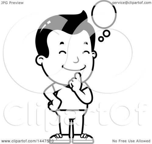 small resolution of clipart of a retro black and white boy thinking royalty free vector illustration by cory