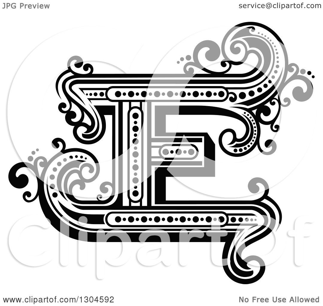 Clipart Of A Retro Black And White Capital Letter E With