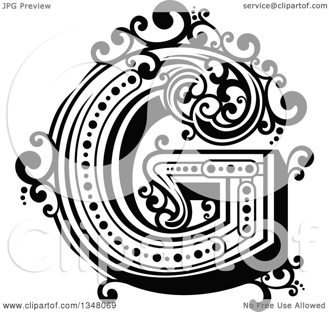Clipart Of A Retro Black And White Capital Letter G With