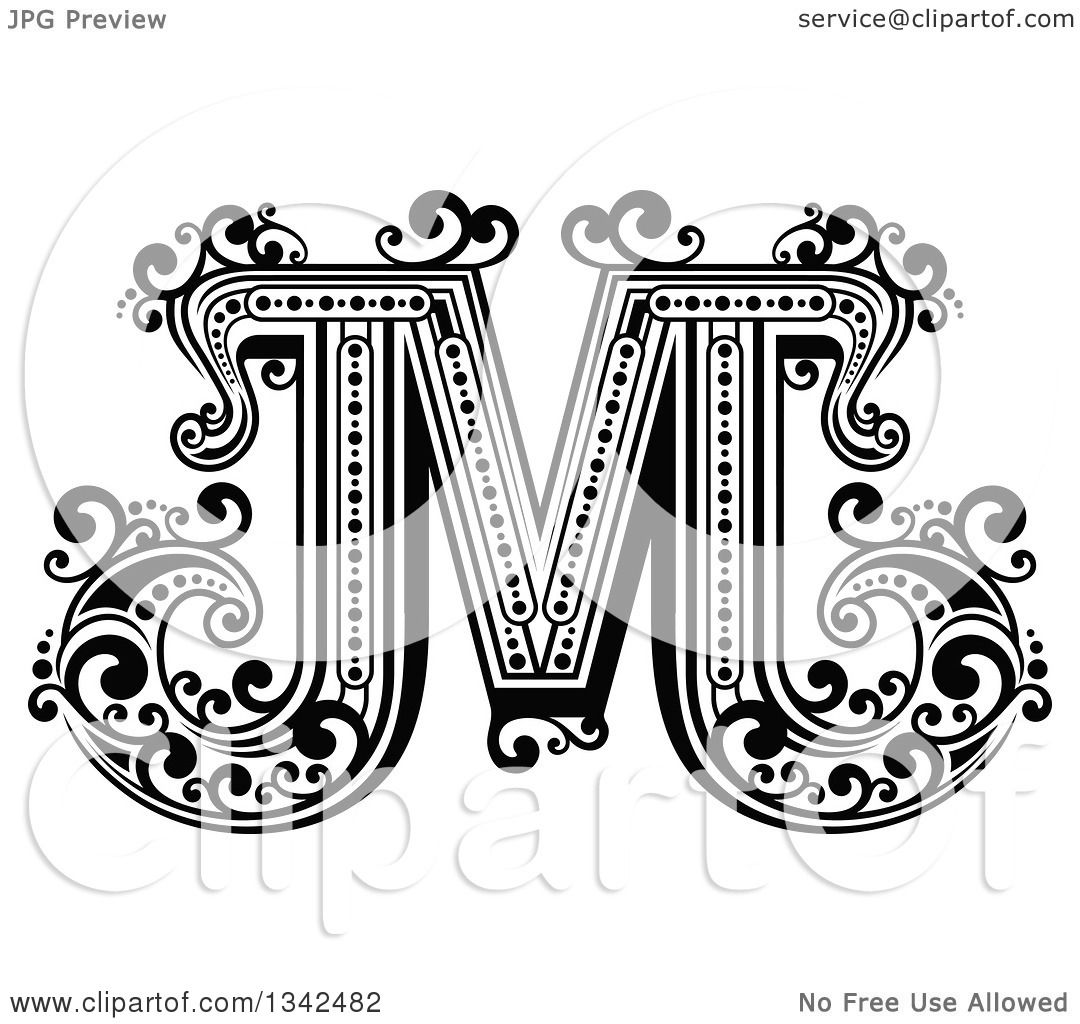 Clipart Of A Retro Black And White Capital Letter M With