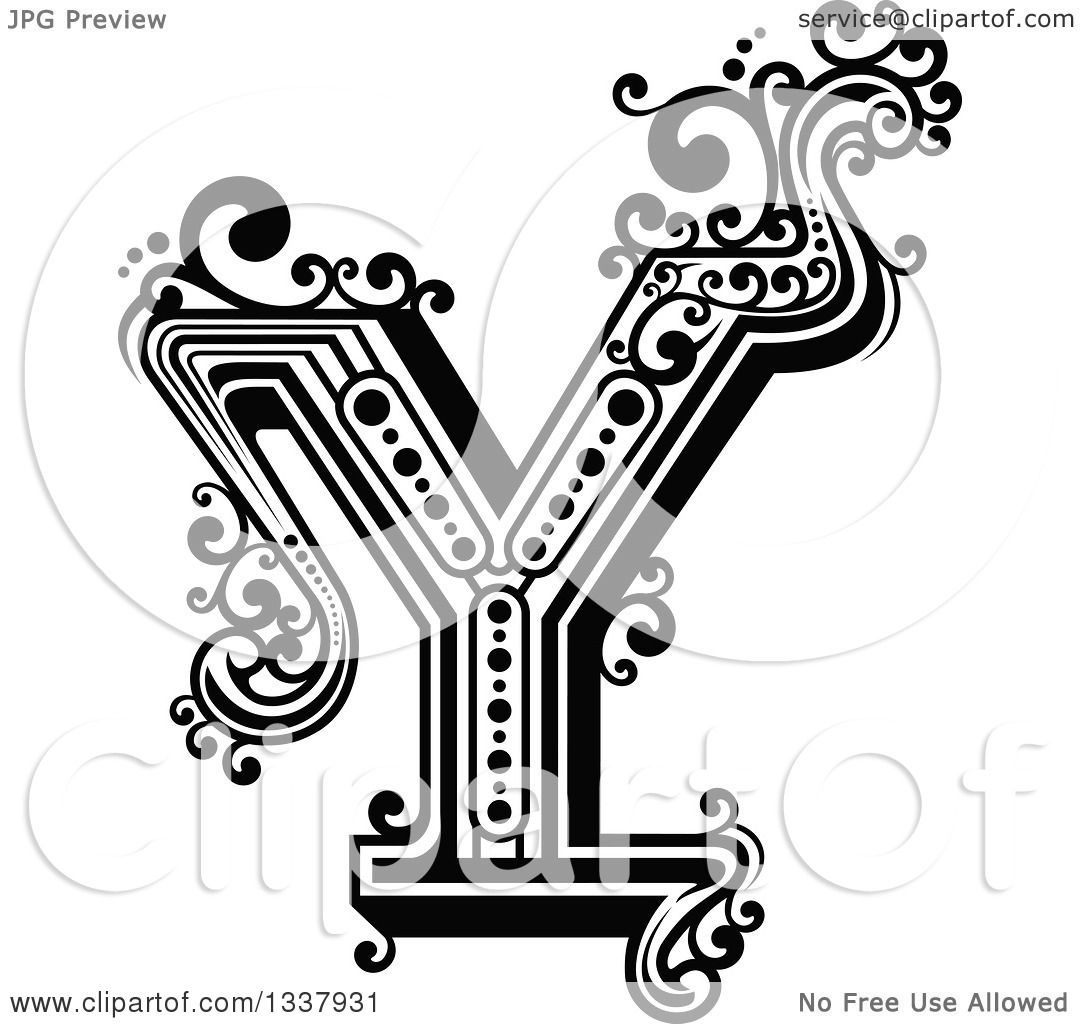 Clipart Of A Retro Black And White Capital Letter Y With