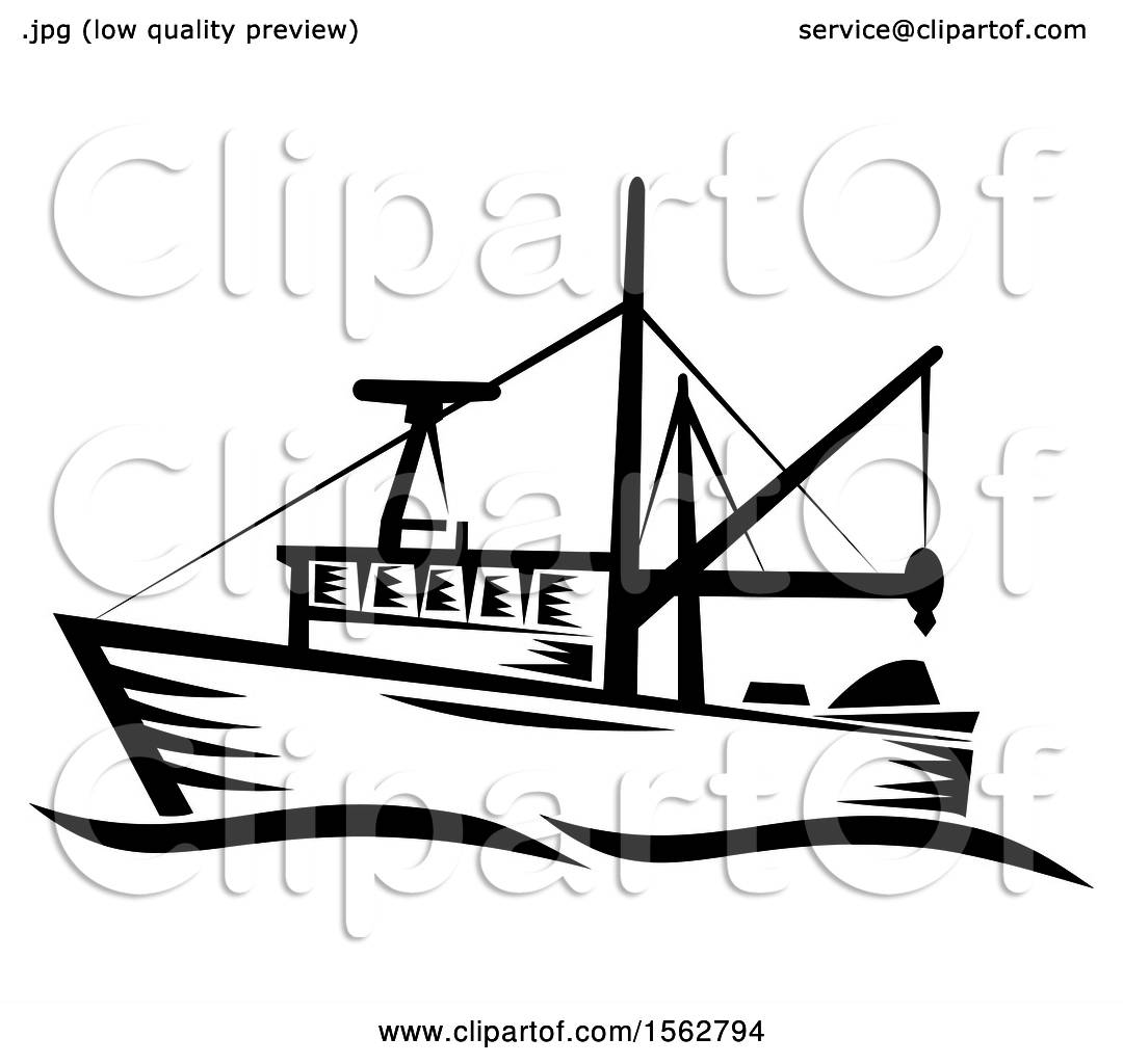 Clipart Of A Retro Black And White Fishing Boat With Waves