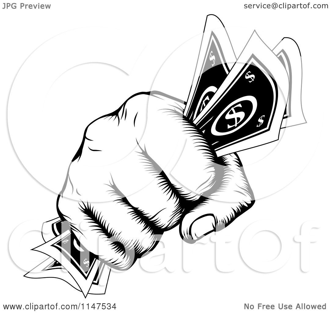 Clipart Of A Retro Black And White Woodcut Fist Holding