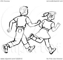 boy running clipart retro illustration royalty vector picsburg