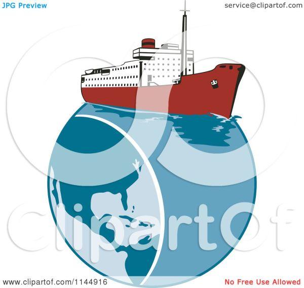 Clipart Of Retro Cruise Ship Earth - Royalty Free Vector Illustration Patrimonio #1144916