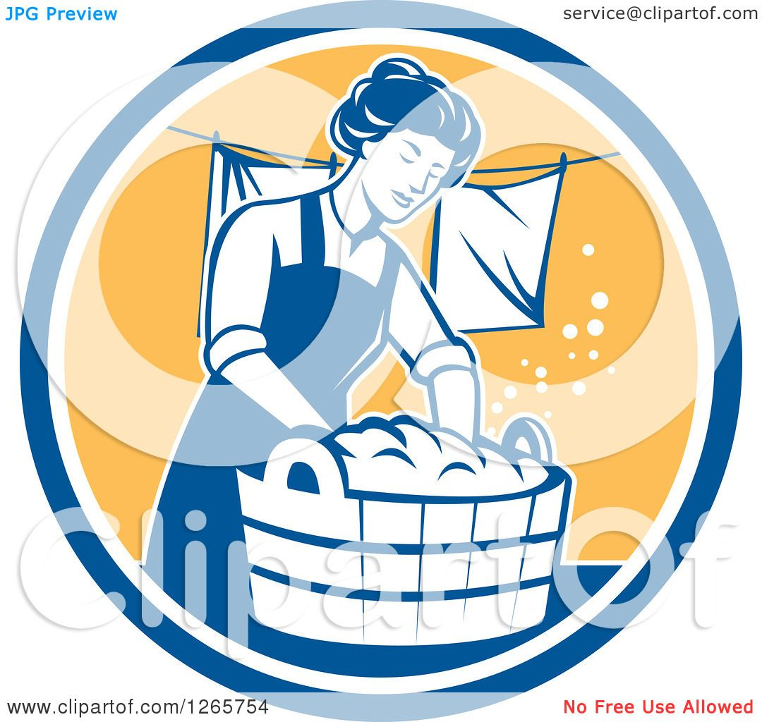 Clipart Of A Retro Housewife Woman Doing Laundry In A Blue