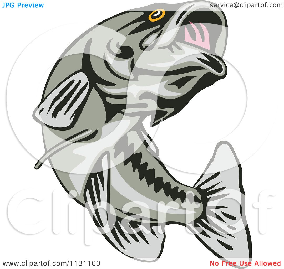 hight resolution of clipart of a retro leaping largemouth bass fish royalty free vector illustration by patrimonio