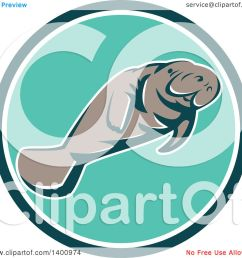 clipart of a retro manatee swimming in a teal white and turquoise circle royalty free [ 1080 x 1024 Pixel ]