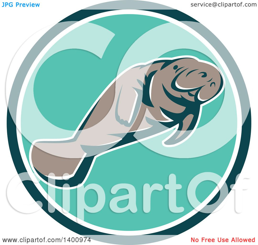 hight resolution of clipart of a retro manatee swimming in a teal white and turquoise circle royalty free