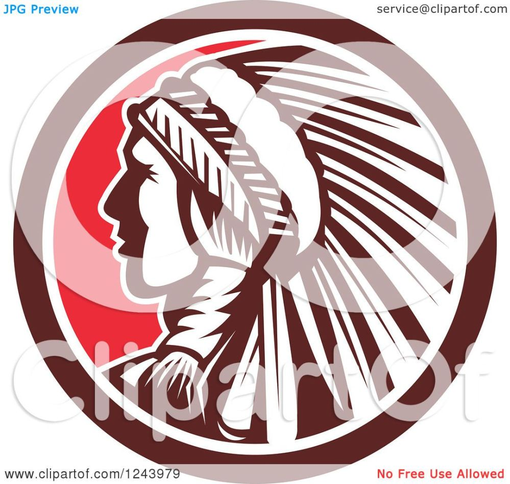 medium resolution of clipart of a retro native american indian chief in profile in a circle royalty free