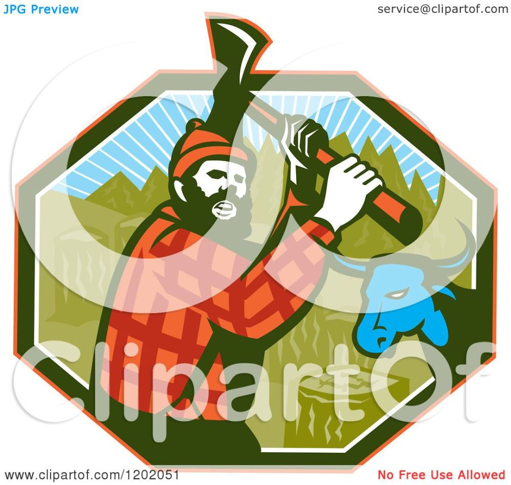 medium resolution of clipart of a retro paul bunyan lumberjack and babe blue ox in an octagon royalty