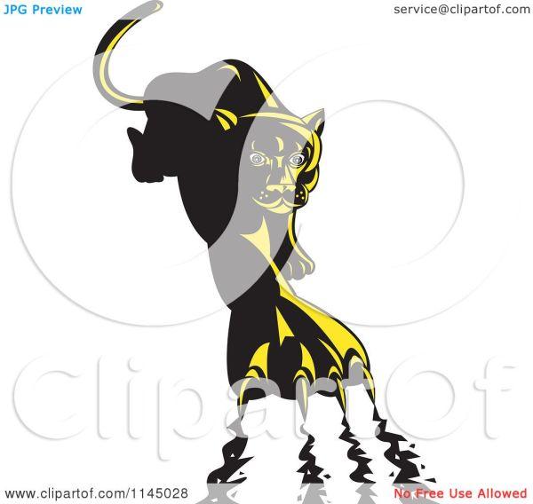 Clipart Of Retro Puma Clawing - Royalty Free Vector Illustration Patrimonio #1145028
