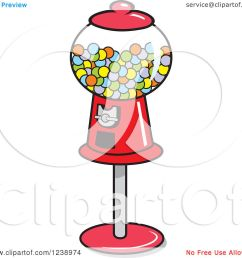 clipart of a retro red gumball machine royalty free vector illustration by johnny sajem [ 1080 x 1024 Pixel ]
