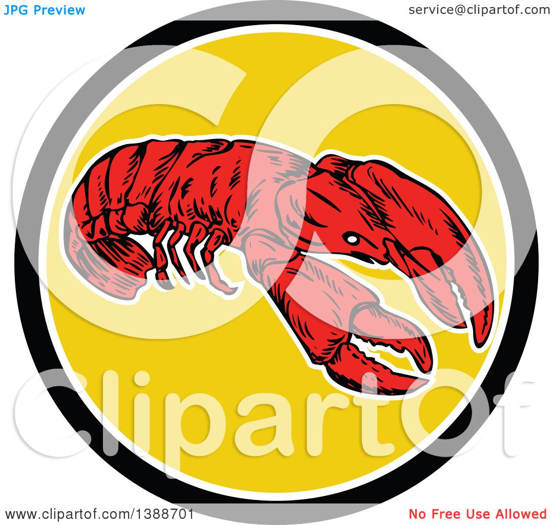 Clipart Of A Retro Red Lobster In A Black White And Yellow Circle