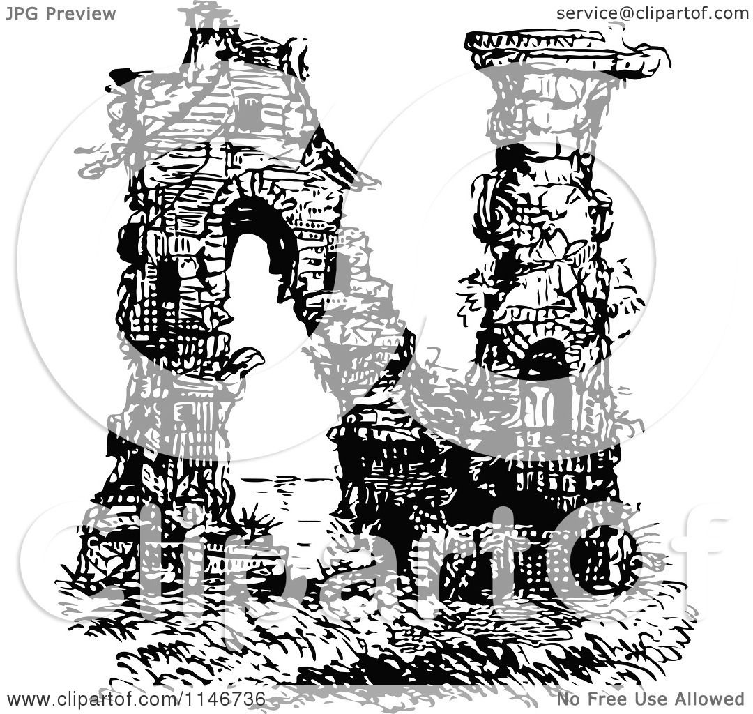 Clipart Of A Retro Vintage Black And White Alphabet Letter