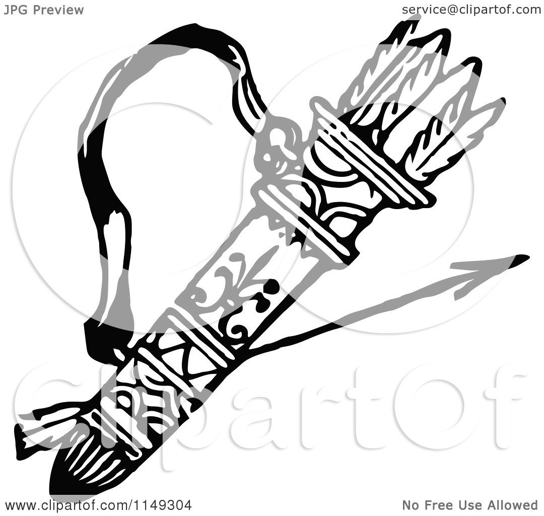 Clipart Of A Retro Vintage Black And White Archery Quiver