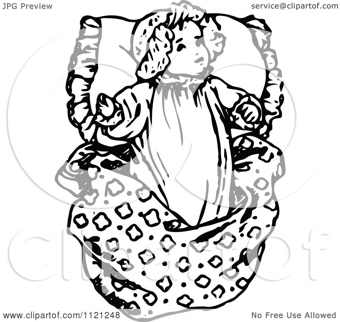 Clipart Of A Retro Vintage Black And White Baby Girl Resting On A Pillow
