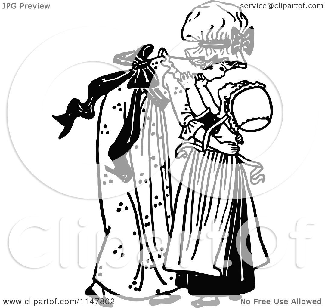 Clipart Of A Retro Vintage Black And White Big Sister