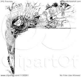 bird border nest clipart illustration retro vector royalty prawny