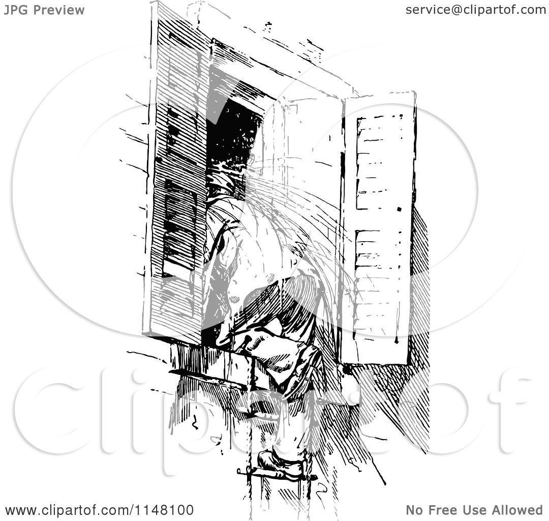 Clipart of a Retro Vintage Black and White Boy Climbing in