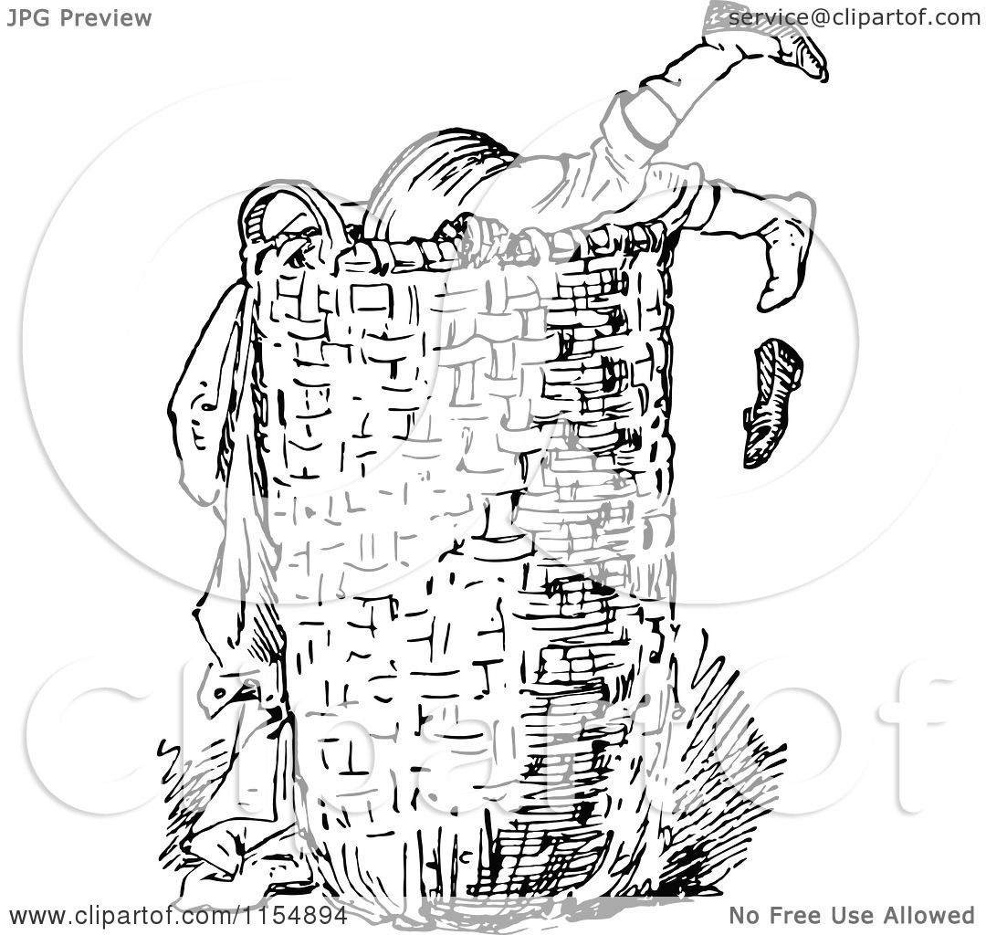 hight resolution of clipart of a retro vintage black and white boy digging in a laundry basket royalty free