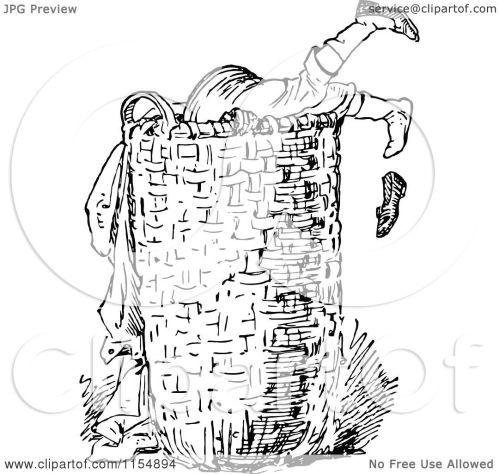 small resolution of clipart of a retro vintage black and white boy digging in a laundry basket royalty free