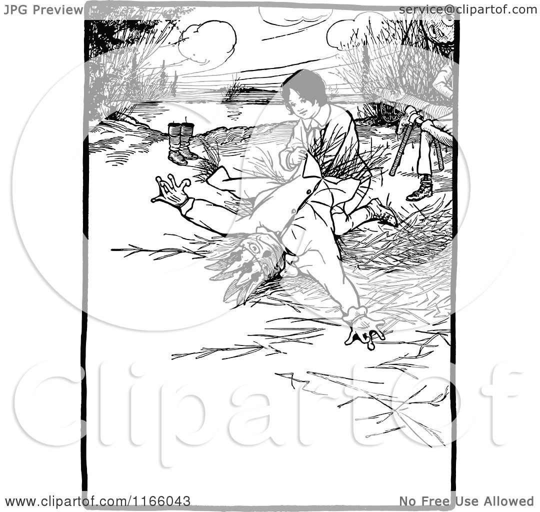 Clipart Of A Retro Vintage Black And White Boy Making A Scarecrow